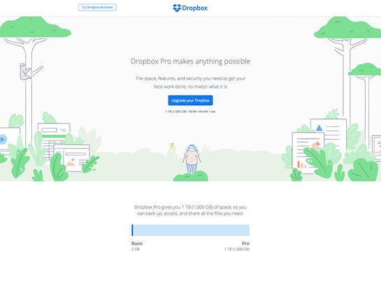 Dropbox marketing site