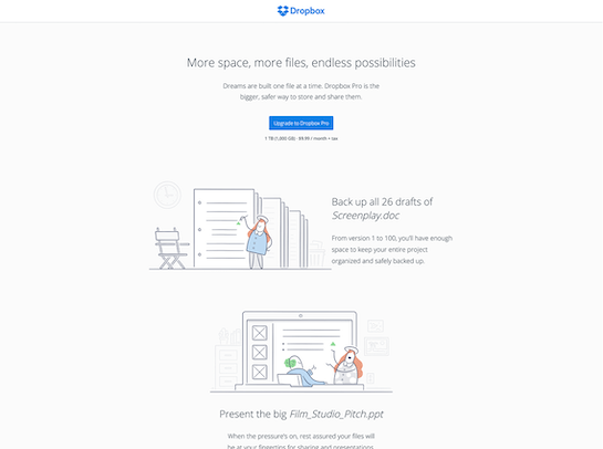 Alternate Dropbox marketing site
