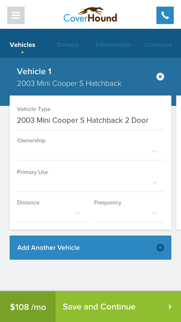 CoverHound mobile app vehicle input form