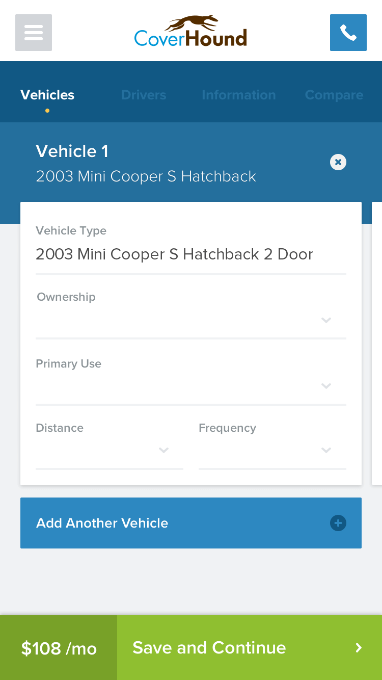 CoverHound vehicle input form