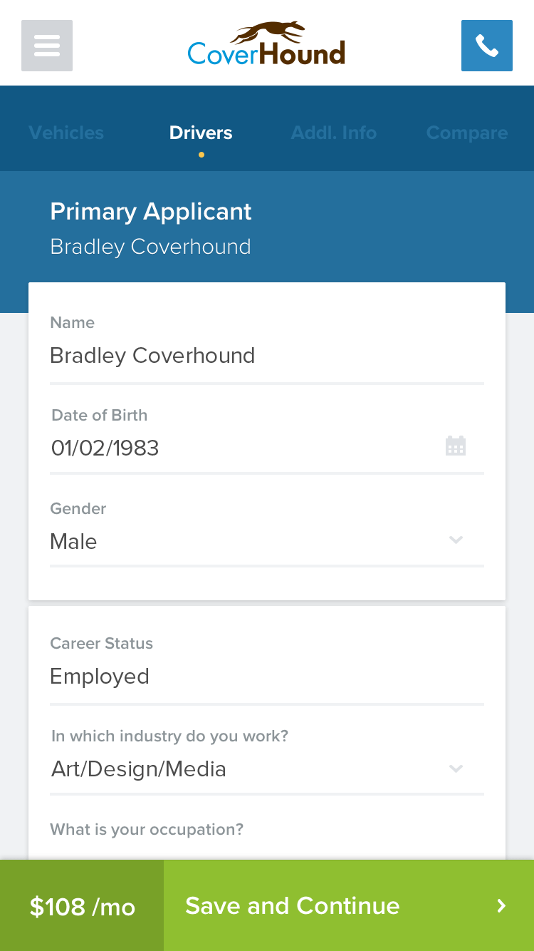 CoverHound driver input form