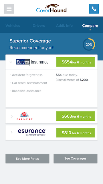 CoverHound mobile app coverage comparison