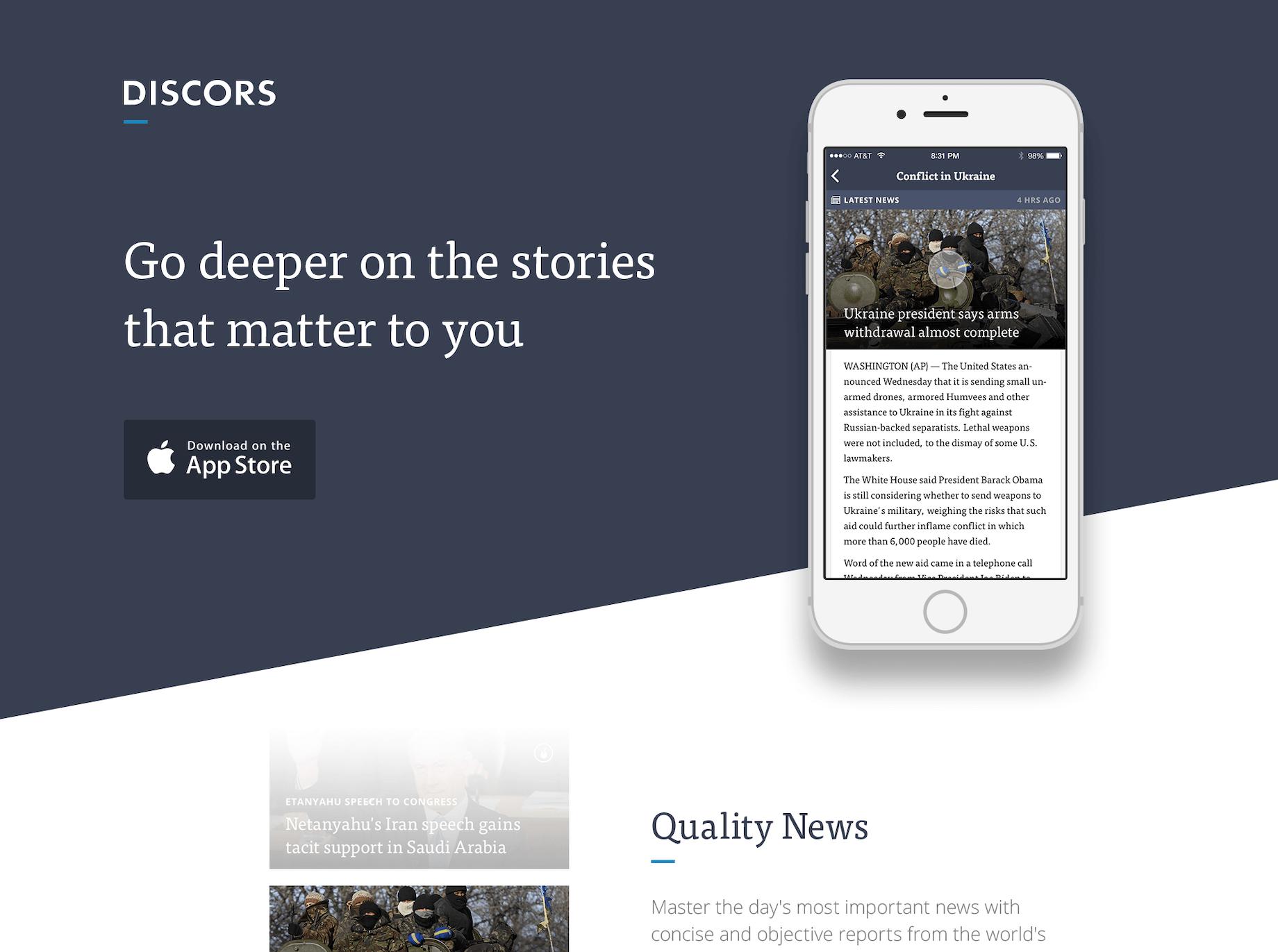 Discors homepage hero